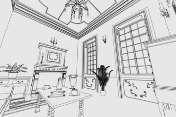 cartoon image of manor interior