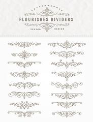 Set of flourishes calligraphic elegant ornament dividers