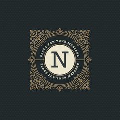 Monogram logo template with flourishes calligraphic elegant ornament elements