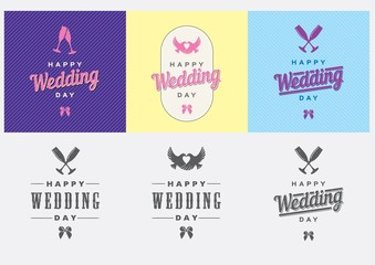 Happy Wedding Day Vector Template