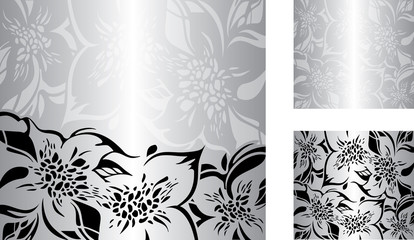 Silver floral decorative holiday background set with black and white ornaments