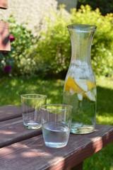Fototapeta Karafka pełna wody z miętą, cytryną i lodem stojąca na ławce w ogrodzie