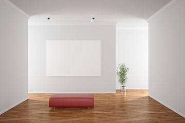 Leere Leinwand an Wand in Galerie