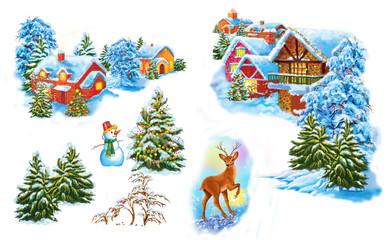 Set cartoon winter landscape  the house and trees for fairy tale  Snow Queen  written by Hans Christian Andersen