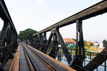 Iron bridge for train, Kanchanaburi province,Thailand.