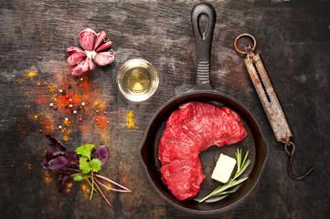 Raw Ribeye steak entrecote. top view