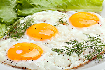 Close up of traditional breakfast with fried eggs and herbs