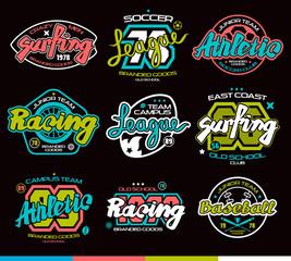 Set of sport badges. Graphic design for t-shirt