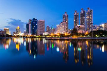 Business buildings in Bangkok seen from Benjakiti park, night Scene, Thailand