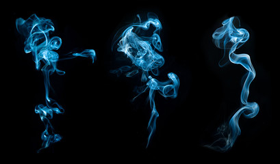 Abstract smoke collection on black background
