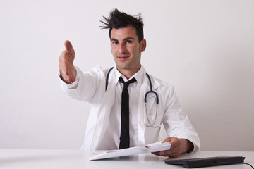 Doctor consulting reports