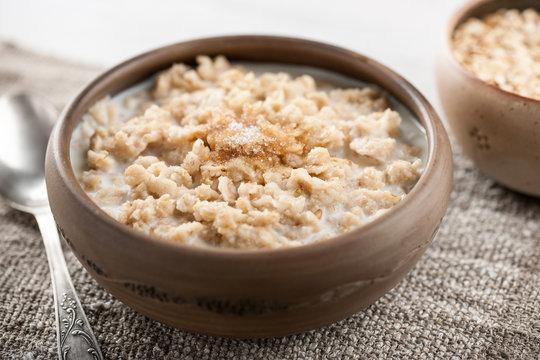 Breakfast oatmeal with milk