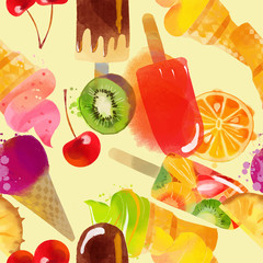 Ice Cream. Watercolor vector background  pattern