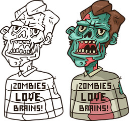 portrait of an angry zombie in a sweater Coloring