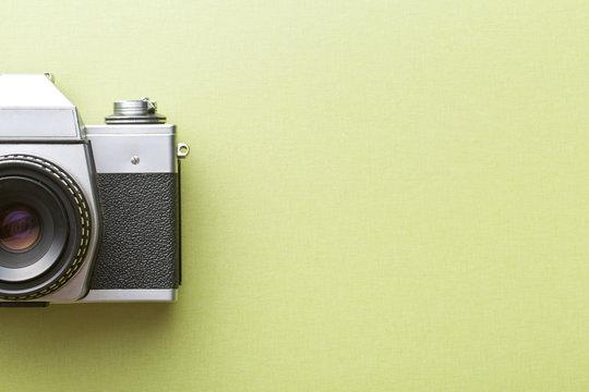 retro camera on colored background