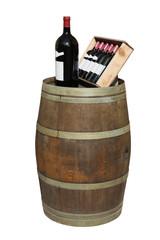 Bouteilles de vin sur un tonneau
