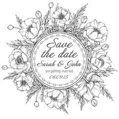 Vintage elegant wedding invitation or card Save the Date with graphic flowers (trollius).