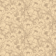 Vector seamless pattern with graphic spring flowers