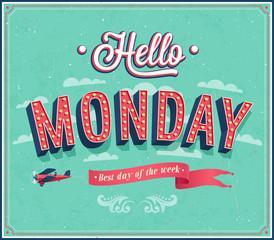 Hello Monday typographic design.