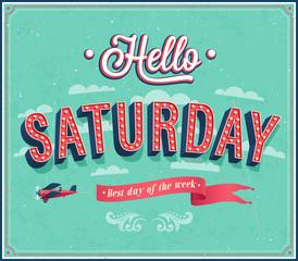 Hello Saturday typographic design.