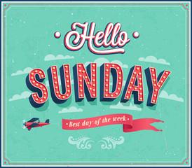 Hello Sunday typographic design.
