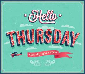 Hello Thursday typographic design.