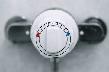 Shower thermostatic power and heat controller close up
