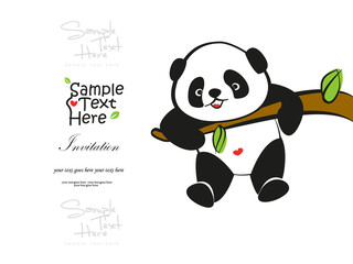 Baby Panda climbing the tree vector design