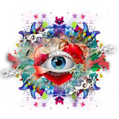 Абстрактный глаз с бабочками и цветками на белом фоне