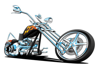 Custom American Chopper Motorcycle Vector Illustration