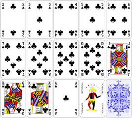 Poker cards club set four color classic design 600 dpi