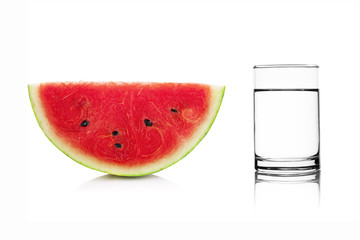 watermelon and Glass of water isolated on white background