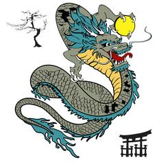 japanese dragon tattoo tshirt in vector format