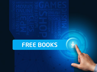 Free books. Businessman presses a button on the virtual screen.