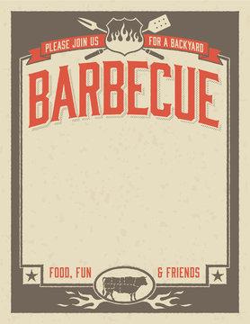 Backyard Barbecue Invitation Template Easy to edit vector file.