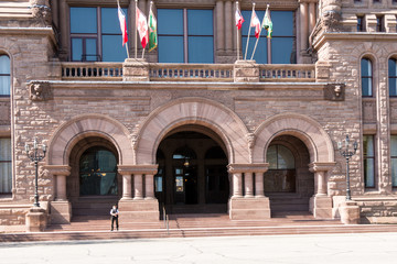 Richardsonian Romanesque Revival architectural details in Queen's Park building seat of the Ontario Government, Canada