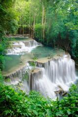 Deep forest Waterfall ,Huay Mae Khamin, Kanchanaburi ,Thailand