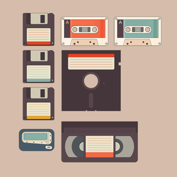 Old stuff from 90s and 80s in vintage style icon