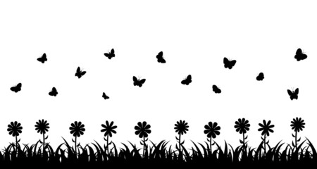 Butterflies over the grass and flowers.