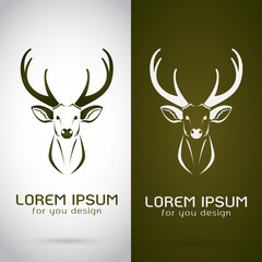 Vector image of an deer design on white background and brown bac