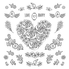 The set of hand drawn decorative floral elements for Valentine's Day, mother's day, birthday, wedding, easter. Vintage heart of flowers. Doodles, sketch. Vector illustration.