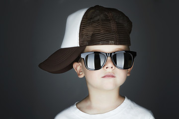 little boy.Hip-Hop Style.handsome Young Rapper in sunglasses