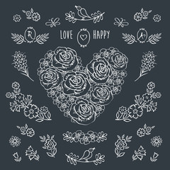 The set of decorative floral elements for Valentine's Day, mother's day, birthday, wedding. Hand drawn with chalk on the black chalkboard. Vintage heart of flowers.