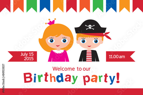 Invitation to a childrens party invitation to the birthday of invitation to a childrens party invitation to the birthday of twins birthday pirate and stopboris Image collections