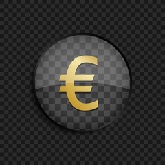 Black badge with gold euro silhouette on square background