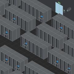 Data Center, Server Room, line drawing illustration