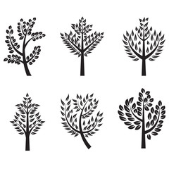Trees silhouette set with branches for label, logo,tattoo