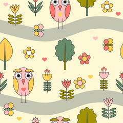 Forest seamless pattern with cartoon owl.