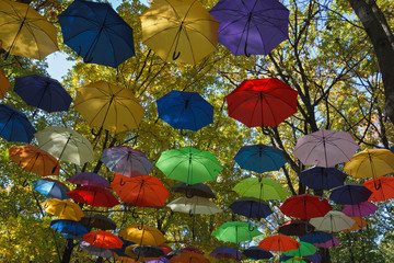 Many colorful umbrellas