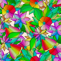 Abstract seamless pattern with colorful flowers